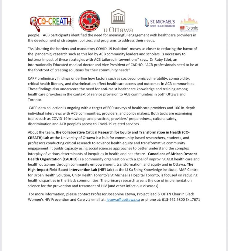 Mobilizing African Caribbean and Black (ACB)Communities for effective COVID-19 Response