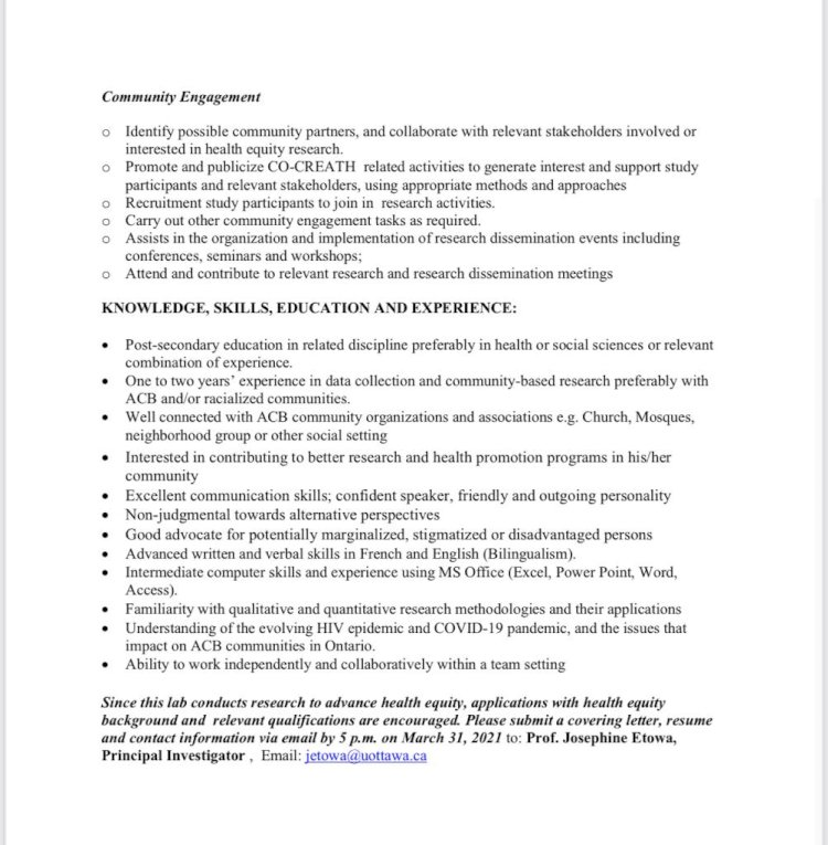 CO-CREATH LAB Research Administrative Assistant (RAA)